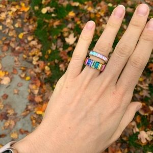 Set of two rainbow Alidia Rings, Size 6